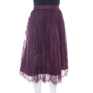 Alice + Olivia Amethyst Purple Lace Overlay Perkins Pouf Skirt M