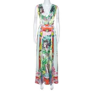 Alice + Olivia Multicolor Printed Silk Lola Lady Maxi Dress M