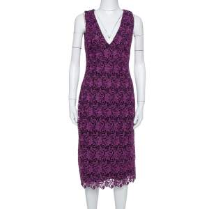 Alice + Olivia Purple Floral Guipure Lace Sleeveless Preslee Dress M