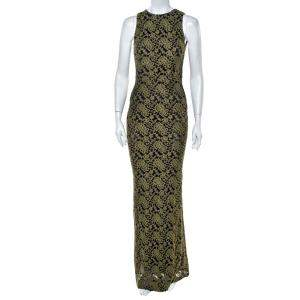 Alice + Olivia Olive Green Embroidered Tulle Open Back Detail Sleeveless Gown S