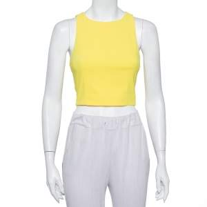 Alice + Olivia Yellow Crepe Lace Trim Detail Sleeveless Poppy Crop Top XS