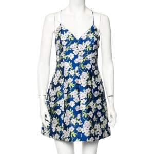 Alice + Olivia Blue Floral Jacquard Tayla Mini Dress M