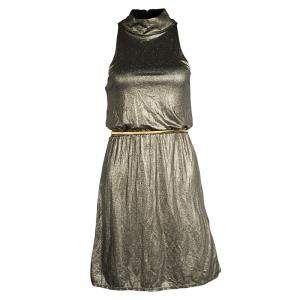 Alice + Olivia Metallic Gold Sleeveless Belted Estelle Dress  XS