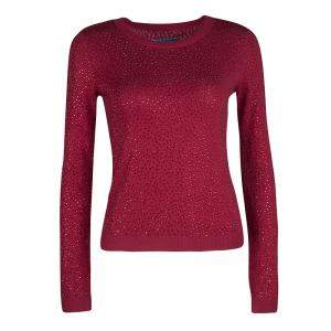 Alice + Olivia Red Knit Hot Fix Crystal Embellished Cropped Sweater XS