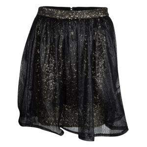 Alice + Olivia Black Mesh Overlay Sequin Embellished Gathered Skirt M