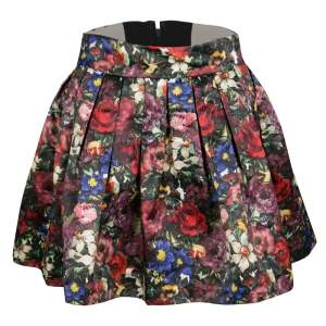 Alice + Olivia Multicolor Floral Print Pleated Fizer Satin Mini Skirt S