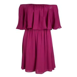 Alice + Olivia Cranberry Silk Dora Ruffled Off Shoulder Dress S