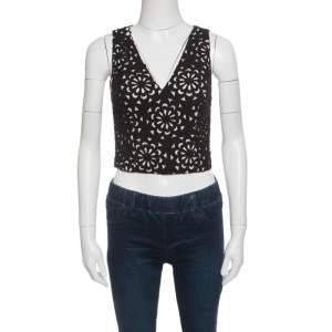 Alice + Olivia Black Floral Laser Cut Sleeveless Lyla Crop Top S