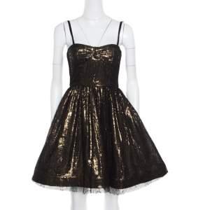 Alice + Olivia Metallic Lace Overlay Yelle Dress S