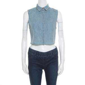 Alice + Olivia Indigo Faded Effect Denim Sleeveless Lea Cropped Blouse S