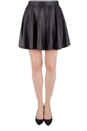 Alice + Olivia loves Scoop Black Leather Eyelet Rivet Detail Flared Skirt M