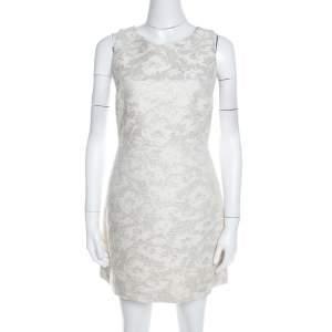 Alice + Olivia Off White Jacquard Back Mesh Panel Detail Dress M