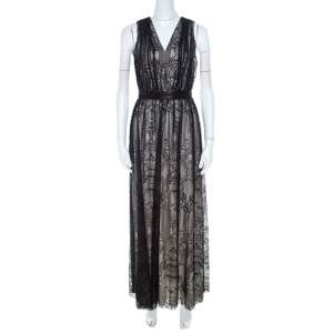 Alice + Olivia Black Lace Leather Trim Sleeveless Sybil Maxi Dress S