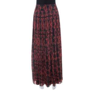 Alice + Olivia Red Romantic Butterfly Print Chiffon Pleated Maxi Skirt S