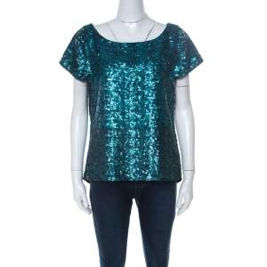 Alice + Olivia Teal Blue & Black Sequinned Cap Sleeves Top L
