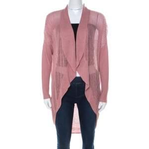 Alice + Olivia Blush Pink Light Knit Draped Back Cardigan M