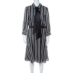 Alice + Olivia Employed Monochrome Striped Silk Necktie Detail Belted Dress L