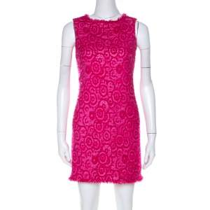 Alice + Olivia Pink Geometric Pattern Wool Blend Short Dress XS