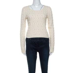 Alice + Olivia Off White Wool Pearl Embellished Sweater S