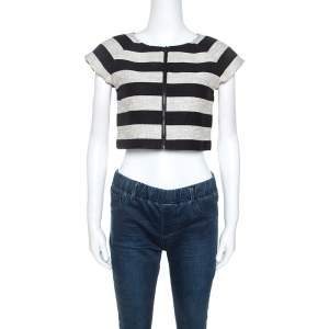 Alice + Olivia Bicolor Striped Knit Lurex Detail Amy Crop Top S