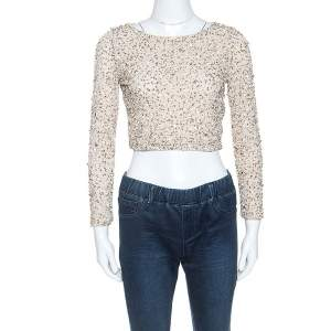 Alice + Olivia Beige Embellished Long Sleeve Lacey Crop Top S