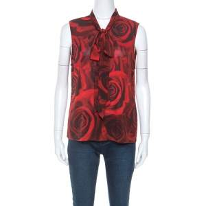 Alice + Olivia Red Rose Print Silk Tie Neck Detail Sleeveless Top M