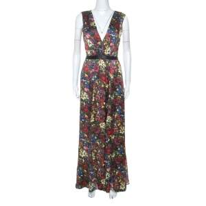 Alice + Olivia Multicolor Floral Print Silk Triss Maxi Dress M