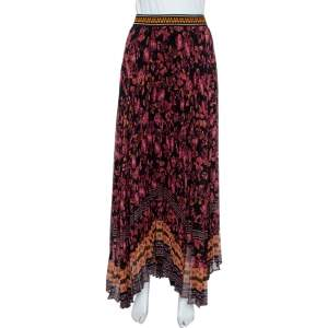 Alice + Olivia Multicolor Silk Chiffon Katz Floral Print Pleated Maxi Skirt XL