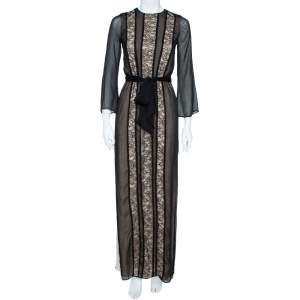 Alice + Olivia  Black Chiffon-Lace Side Slit Maxi Dress XS
