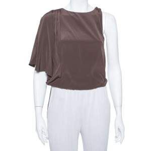 Alice + Olivia Brown Silk Asymmetric Draped Top XS