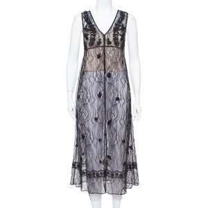 Alice + Olivia Black Embroidered Lace Sheer Ciel Long Vest XS