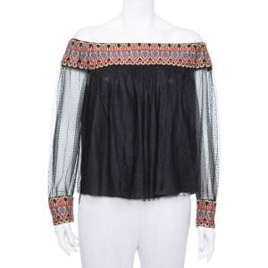 Alice + Olivia Black Tulle Contrast Trim Detail Off Shoulder Top L