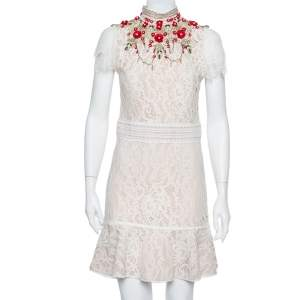 Alice + Olivia Cream Lace Embellished Fit & Flare Francine Mini Dress M