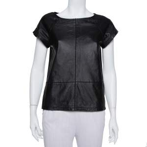 Alice + Olivia Black Leather & Chiffon Paneled Short Sleeve Top S
