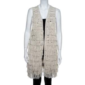 Alice + Olivia Cream Crochet Knit Fringed Open Front Weiss Vest M