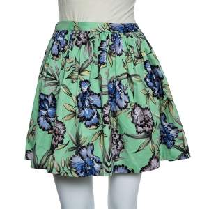 Alice +Olivia Green Floral Printed Cotton Pleated Tania Skirt S