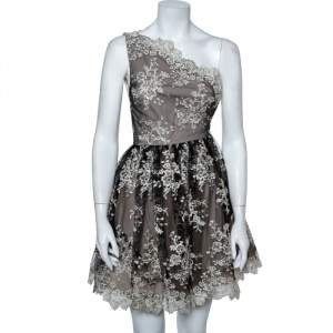 Alice + Olivia Monochrome Embroidered Lace One Shoulder Morganne Dress XS
