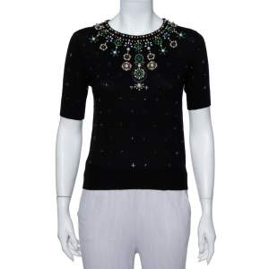 Alice + Olivia Black Wool Embellished Detail Rosi Top XS
