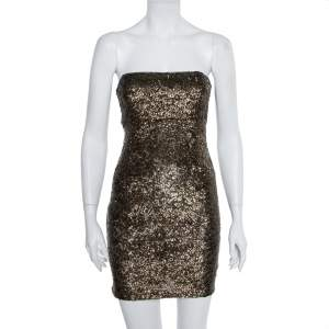 Alice + Olivia Gold Sequin Embellished Strapless Mini Dress S