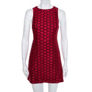 Alice + Olivia Red & Black Tulle Heart Embroidered Everleigh Dress XS