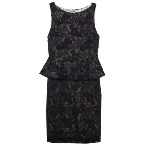 Alice + Olivia Black Lace Josephine Peplum Dress S