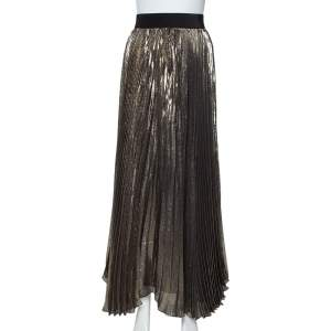 Alice + Olivia Gold & Black Silk Pleated Katz Maxi Skirt XS