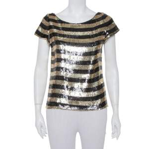 Alice + Olivia Black & Gold Sequin Embellished Silk Top S