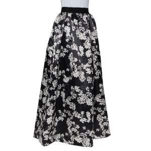 Alice + Olivia Black Floral Printed Satin Tina Maxi Skirt S