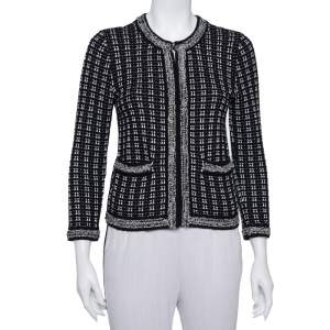 Alice + Olivia Monochrome Tweed Embellished Georgia Jacket S