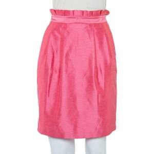 Alice + Olivia Pink Synthetic Paper Bag Waist Detail Mini Skirt XS