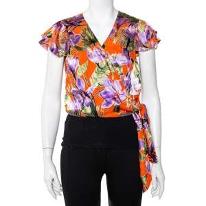 Alice + Olivia Orange Floral Devore Wrap Top L