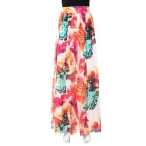 Alice + Olivia Multicolor Cotton & Silk Pleated Gemna Maxi Skirt M