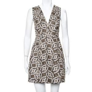 Alice + Olivia Black Patty Embroidered V-Neck Mini Dress S
