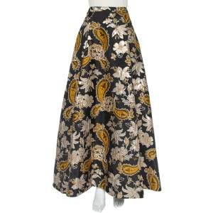 Alice + Olivia Black Lurex Jacquard Flared Rachele Maxi Skirt M